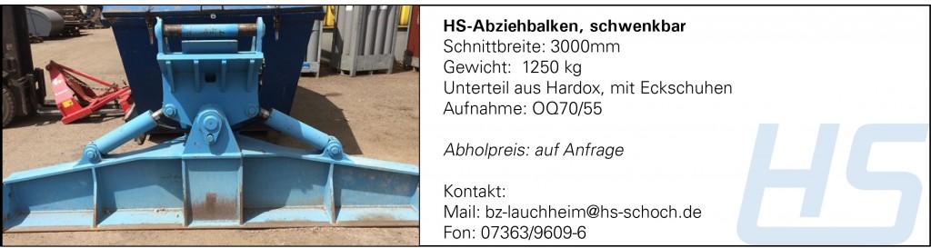 HS-Abziehbalken, schwenkbar