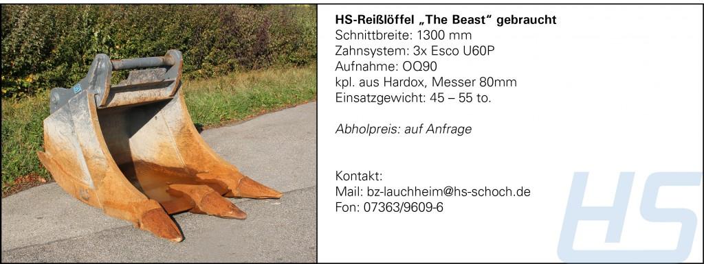 "HS-Reißlöffel ""The Beast"" gebraucht"